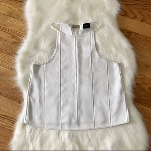 Zara White Pleated Halter Tank Top